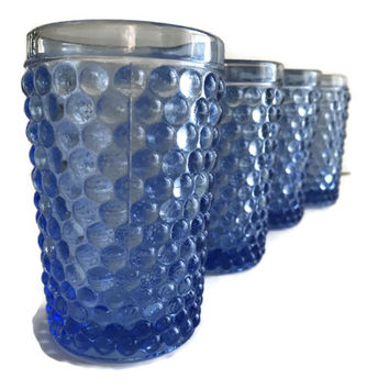 Vintage Westmoreland American Hobnail Drinking Glasses Ice Blue Set of Four 1930's Blue Bubble Glass Tumblers Vintage Kitchen
