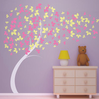Curvy Blowing Tree - Vinyl Wall Decal - Great for little girl's room