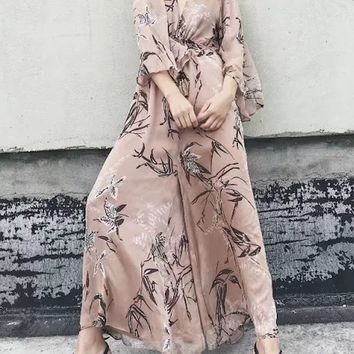 Polychrome V-neck Bamboo Print Tie Front Open Back Wide Leg Jumpsuit