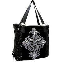 Rockstar Sequin Rhinestone Studded Cross Tote Bag Purse Sequins (Pewter / Black)