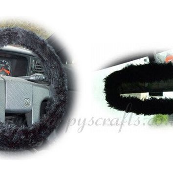 Black fuzzy faux fur steering wheel cover with cute matching rearview mirror cover