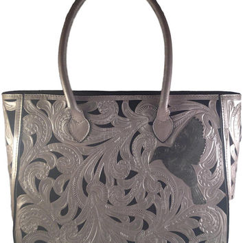 Hummingbird Floral Tote Bag, 100% Leather, Multiple Colors, PERSONALIZE YOURS!, Free Shipping!