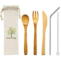 Natural Bamboo Cutlery - Washable Reusbale Utensils Set of 4, 7.5 inch bamboo fork knife spoon with 1...