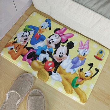 Hot sale Mickey Mouse and Donald Duck Coral Carpet bathroom Non-slip mat bedroom Living room doormat Ottomans pet Cushion