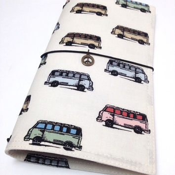 Fabric Notebook Cover Travelers Midori style Fauxdori with charm- driving a bus on cream background- Regular Size, standard dori