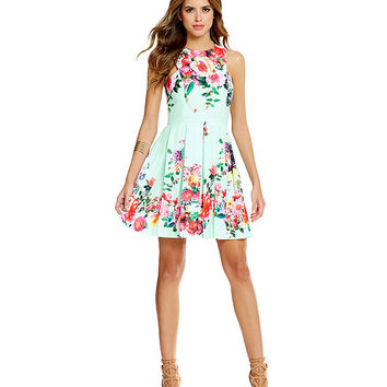 Gianni Bini Marcy Floral-Print Fit-and-Flare Dress | Dillards