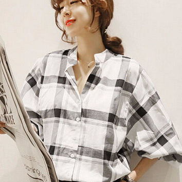 Black and White Plaid Cuff Sleeve Full Buttoned Lapel Blouse