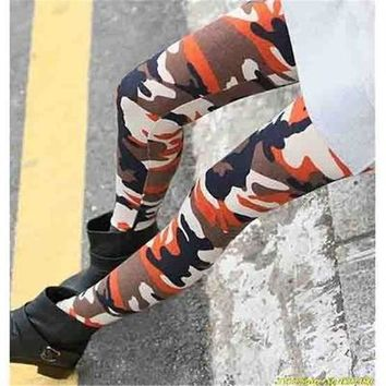 Spring Autumn Sexy High Waist Stretch Skinny Leggings Ladies Camouflage