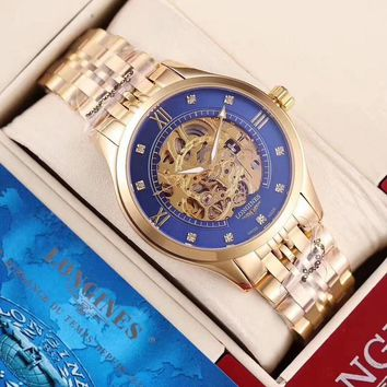 DCCK L045 Longines Automatic Mechanical Men Steel Band Watches Swiss Made Gold Blue