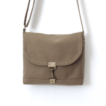 Canvas Satchel Bag Crossbody Purse Messenger Bag Tan
