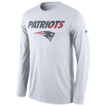 DCCKG8Q NFL New England Patriots Nike White Legend Staff Practice Long Sleeve Performance T-Shirt