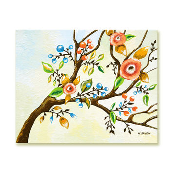Art Painting, Blossom Tree Branch Painting, Tree Art Original Acrylic Painting, Whimsical Canvas Art, Mothers Day Gift 8x10