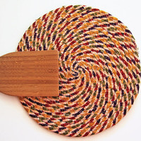 Autumn Striped Trivet -  Coiled Fabric Trivet - Handmade Trivet - Plant Coaster - Hot Pad - Table Mug Rug - Candle Mat - Quiltsy Handmade