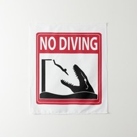 No Diving (Mosasaurus) Tapestry