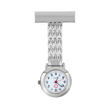 OUTAD Nurse Pocket Watch Stainless Steel Arabic Numerals Red Cross Quartz Brooch Doctor Nurse Pocket Fob Watch Without Logo