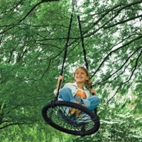 "Round-and-Round Outdoor Rope Swing, Nylon - Black - 23-1/2"" diam."