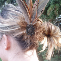 Steampunk Rust and Brown Feather Fascinator, Hair Clip or Hat Pin