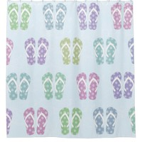 Pretty Multicolor Flip Flop Summer Shower Curtain