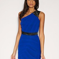 Lipsy | Lipsy Dress With Pleated Body And Contrast Waistband at ASOS