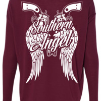 Flowy Long Sleeve Southern Angel Tee Shirt