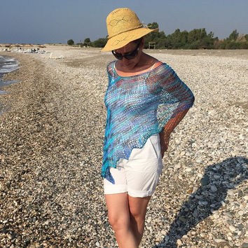 Light weight poncho, knitted cotton poncho, blue turquoise lilac top, loose knit summer wrap sweater shrug shawl cape, trendy summer wear
