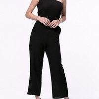 Casual Solid One Shoulder Pocket Jumpsuit In Black