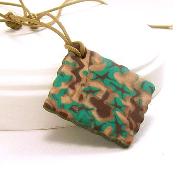Emerald Green Abstract Pendant Necklace / Polymer Clay Jewelry