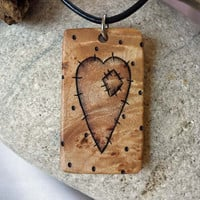 Rustic Heart Necklace, Wood Pendant on Leather Necklace, Heart with Patch