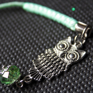 Owl Charm Lanyard - Cell Charm , Mobile, iphone, Purse Charm, Zip Pull, Tibetan silver and Green Quartz, Christmas Gift