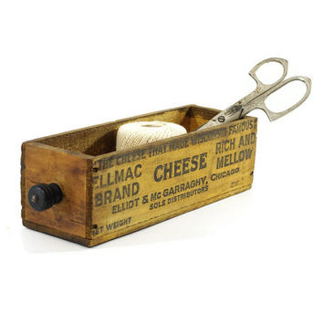 Vintage Cheese Box Drawer, Rustic Storage, Industrial Decor