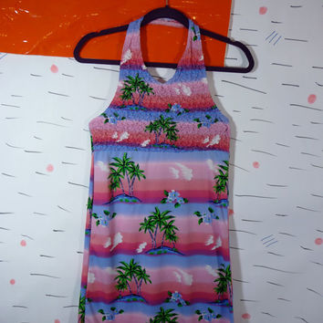 Hawaiian Print Halter Mini Dress 90s Spice Girls Small Palm Trees Rave
