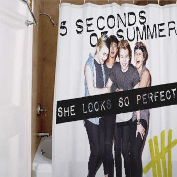 5 Second of Summer She Looks So Perfect, special custom, shower curtains, available size, amazing gift