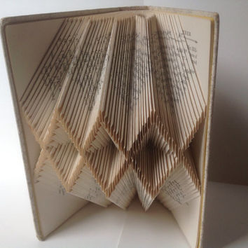 Altered Book, Folded Book, Book Origami, Recycled, Upcycled Book, Repurposed Library, Nobody's Boy, Hardcover Book, Book Art