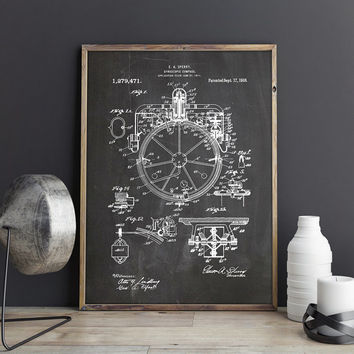 Gyrocompass Print, Compass Wall Decor, Gyrocompass Poster,Gyrocompass Patent,Compass Poster,Nautical Compass,Aviation Decor,INSTANT DOWNLOAD