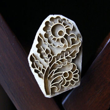 Handmade Indian Wood and Brass Textile Stamp- Flowers
