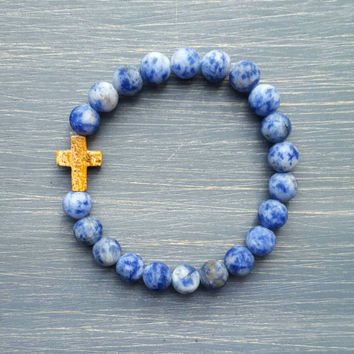Sodalite (Frosted) Gemstone Beaded Bracelet w/ Picture Jasper Cross (Natural)