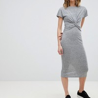 AllSaints Striped Midi Dress with Knot Front at asos.com