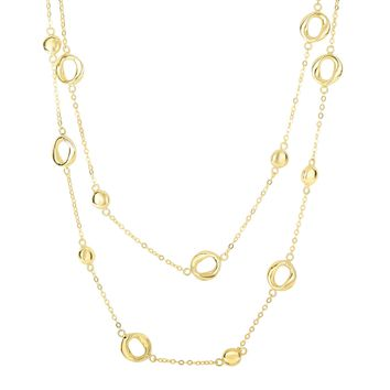 14K Yellow Gold 9.8-1.6mm Shiny Round Puff Circle+Twisted Open Oval On Single Into Double Drop Piatto Type Fancy Necklace with Lobster Clasp