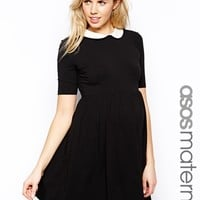 ASOS Maternity Exclusive Skater Dress With Contrast Collar And 1/2 Sle