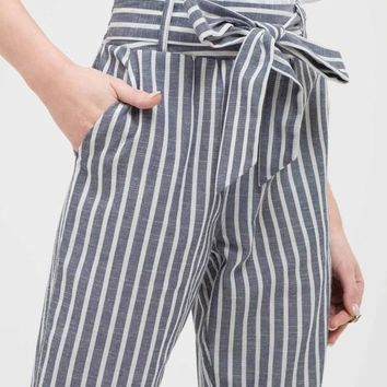 Front Tie Striped Pants
