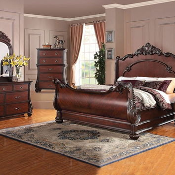 Acme 22360Q 5 pc abramson collection cherry finish wood decorative carving headboard and footboard queen bedroom set