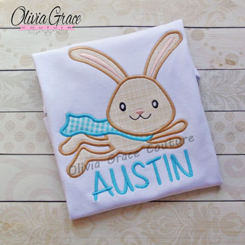 Boys Easter Shirt, Super Hero Bunny Shirt, Super Rabbit Shirt, Embroidered Applique Shirt or Bodysuit