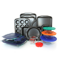 Baker's Secret Signature and Pyrex 25-piece Bakeware Set | Overstock.com Shopping - The Best Deals on Metal Bakeware