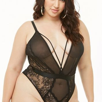 Plus Size Oh La La Cheri Strappy Lace Teddy