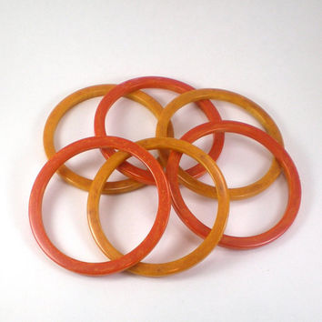 Bakelite Bracelets , Set Of Six Vintage Orange And Yellow Marbled Bakelite Bracelets Bangles