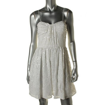 Jill Stuart Womens Sequined Strapless Babydoll Dress