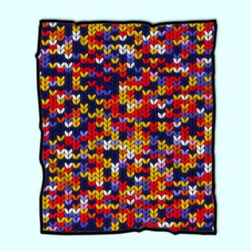 Knitted Colorful Abstract Pattern P0i Prints Fleece Blanket