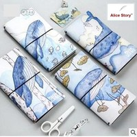 PU Leather Diary Notebook Marine Wizard whale Faux leather traveler's notebook journal diary replaceble inserts refills TN gift