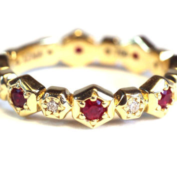 Small Hexagon Ring, with rubies and diamonds stackable wedding anniversary band