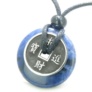Amulet Lucky Coin Charm Donut in Sodalite Good Luck Powers Antiqued Pendant Necklace